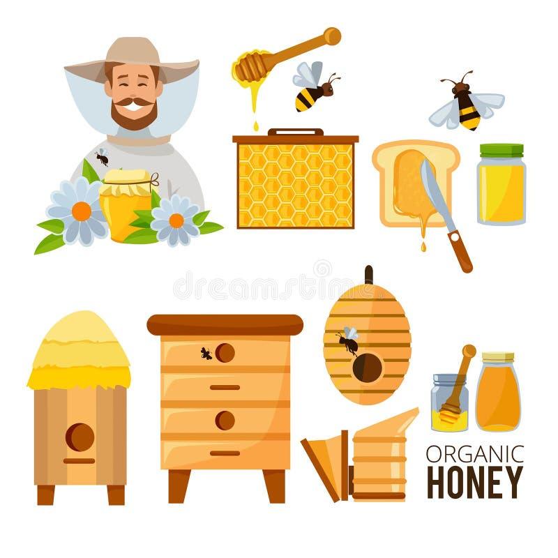 Kreskówek ilustracje ustawiać pszczelarka, ul i pszczoły, royalty ilustracja