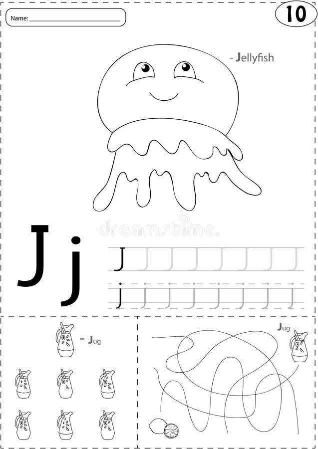 Kreskówek jellyfish i dzbanek lemoniada Abecadła kalkowania workshee ilustracja wektor