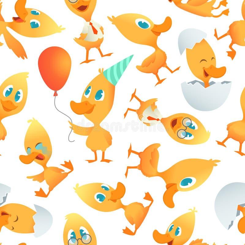 Kreskówek kaczek wzór Bezszwowy tło z kreskówka śmiesznymi ptakami ilustracja wektor