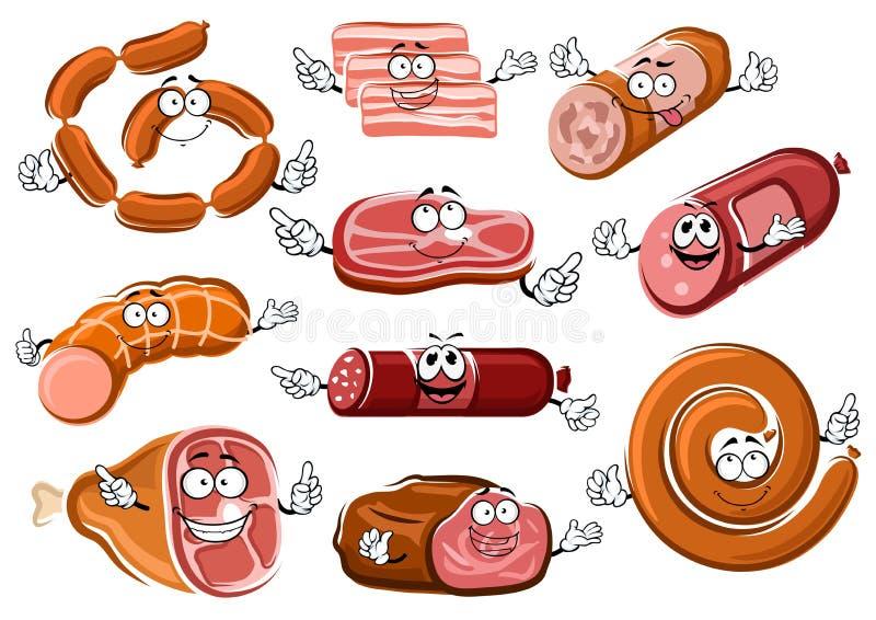 Kreskówek kiełbasy, bekon, stek i pieczona wołowina, ilustracji
