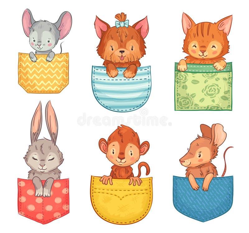 Kreskówek kieszeniowi zwierzęta Śliczny pies, śmieszny kot i królik, Małpy, myszy i szczura zwierzę w kieszeni ilustracji wektoro royalty ilustracja
