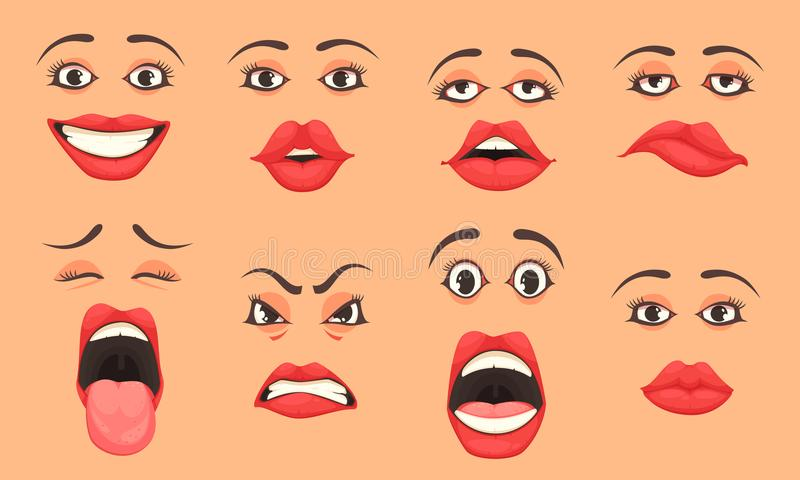 Kreskówek kobiet usta set ilustracji