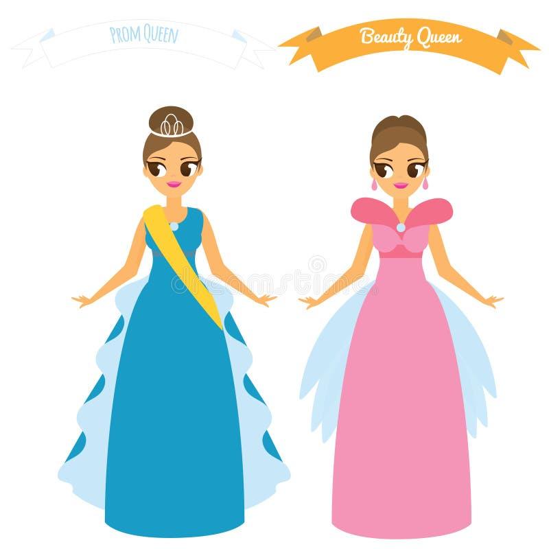 Kreskówek kobiety w długiej togi nocy partyjnych sukniach Piękno królowa Bal królowej pojęcie royalty ilustracja