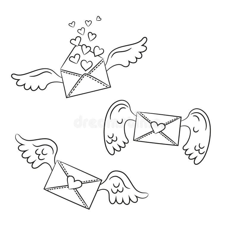 Kreskówek koperty z skrzydłami i sercami na białym tle ilustracji