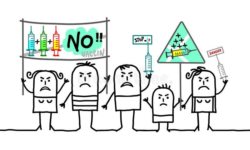 Kreskówek ludzie protestuje przeciw obowiązkowym szczepionkom ilustracja wektor