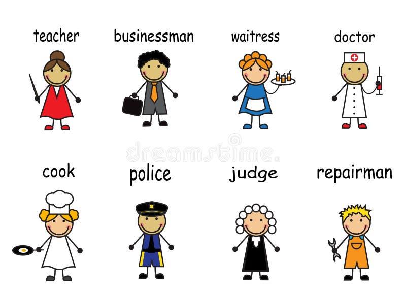 Kreskówek ludzie różnorodni zawody royalty ilustracja
