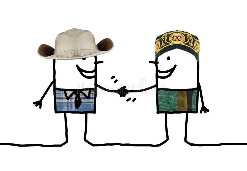 Kreskówek ludzie - różny mężczyzna uścisk dłoni royalty ilustracja