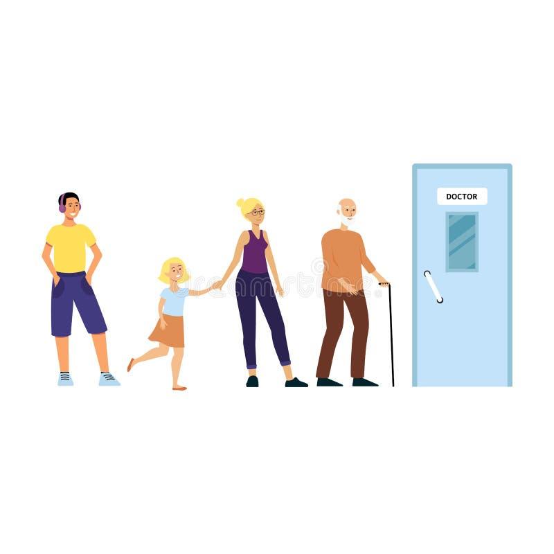 Kreskówek ludzie stoi w kolejce dla lekarki biura, medycznej kliniki pacjenci czeka w linii dostawać medycynę ilustracja wektor