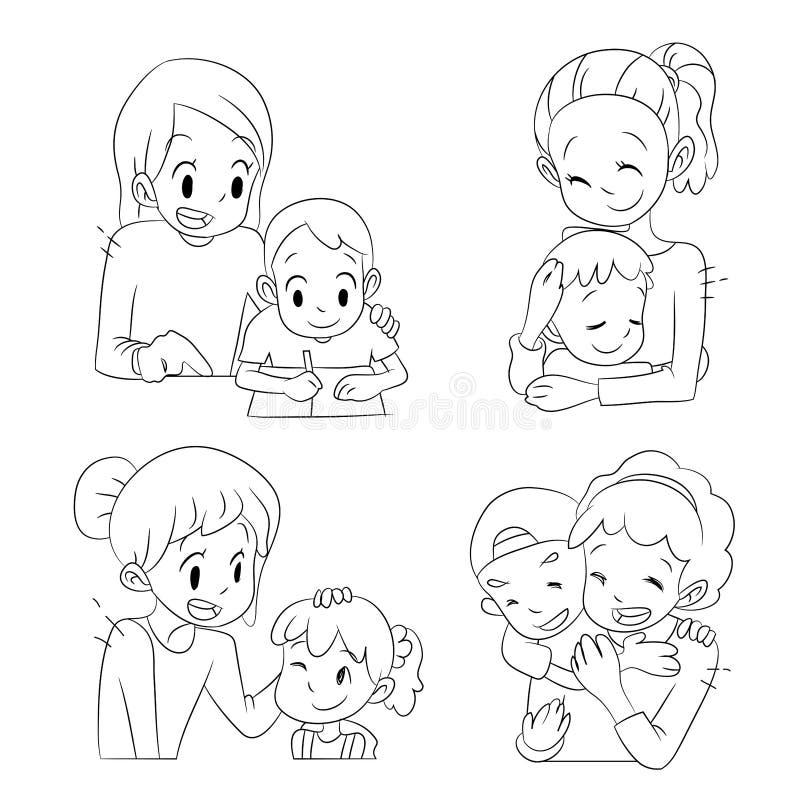 Kreskówek mamy wydaje dobrego czas z ich dzieciakami ilustracja wektor