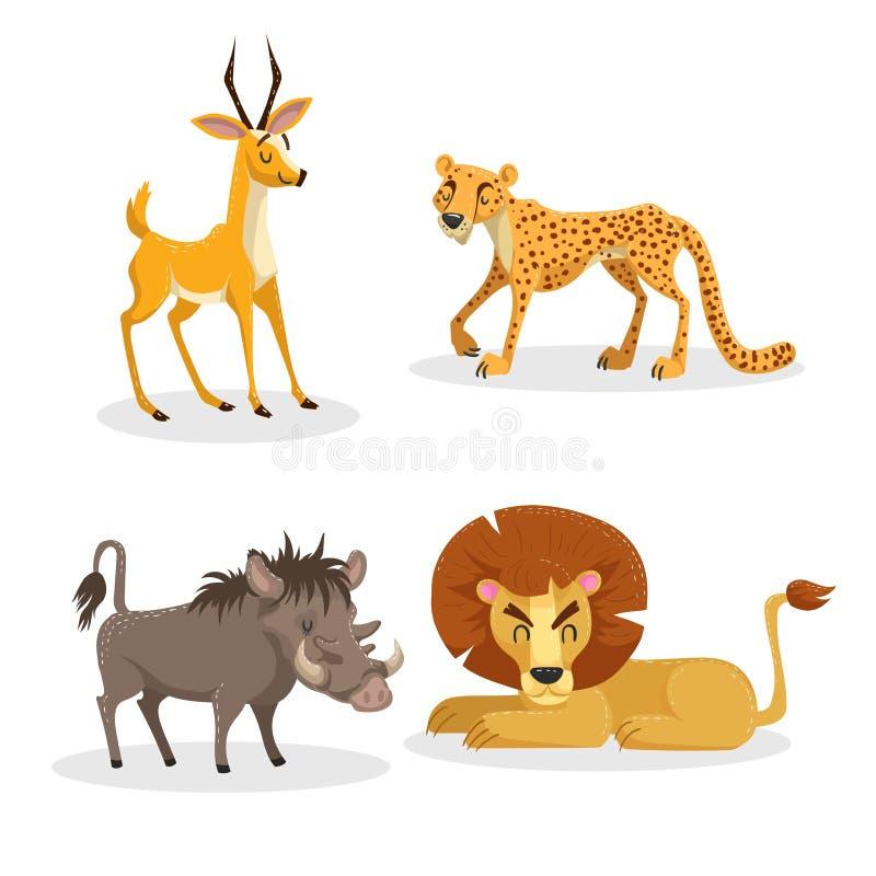 Kreskówek modni stylowi afrykańscy zwierzęta ustawiający Gepard, antylopa, lew, świniowaty warthog Zamknięci oczy i rozochocone m ilustracja wektor