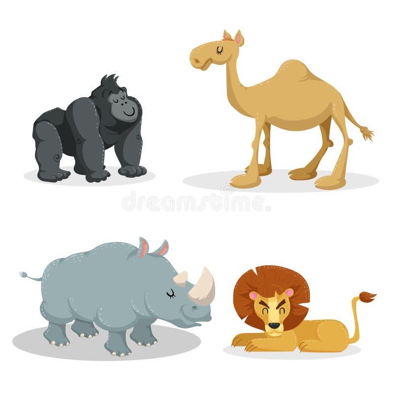 Kreskówek modni stylowi afrykańscy zwierzęta ustawiający Goryl małpa, lew, dromadera wielbłąd, rhiniceros Zamknięci oczy i rozoch ilustracja wektor