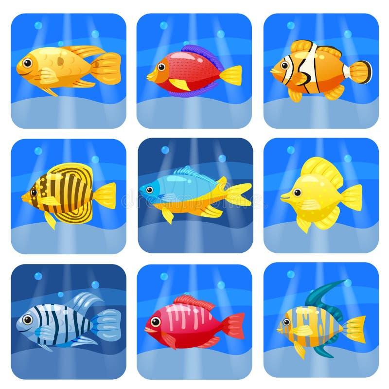 Kreskówek modnych kolorowych rafowych zwierząt duży set Ryba, ssak, crustaceans Delfin i rekin, ośmiornica, krab, rozgwiazda royalty ilustracja