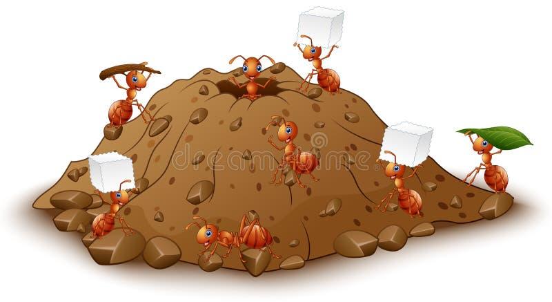 Kreskówek mrówek kolonia z anthill ilustracja wektor