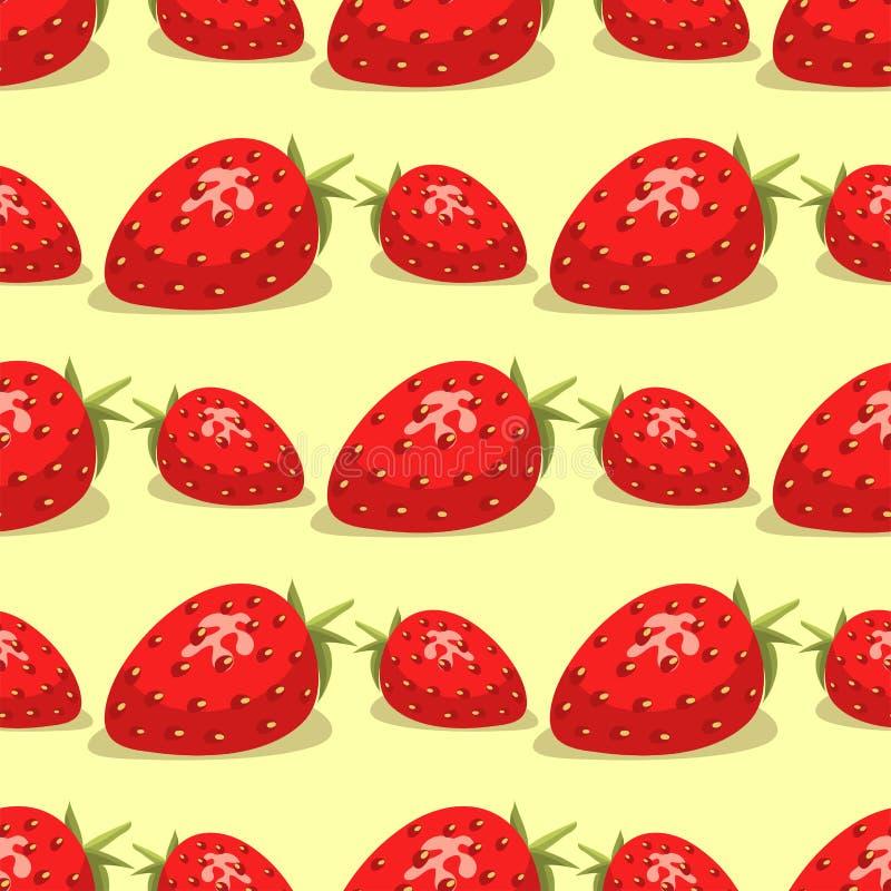 Kreskówek owoc świeżego truskawkowego bezszwowego deseniowego tła lata projekta wektoru jagodowa ilustracja ilustracji