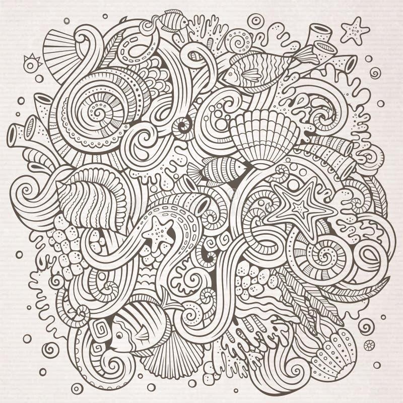 Kreskówek pociągany ręcznie doodles życia Podwodna ilustracja ilustracji