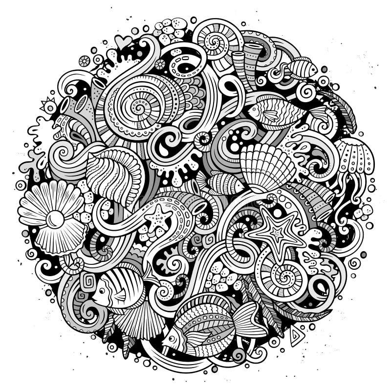 Kreskówek pociągany ręcznie doodles życia Podwodna ilustracja royalty ilustracja