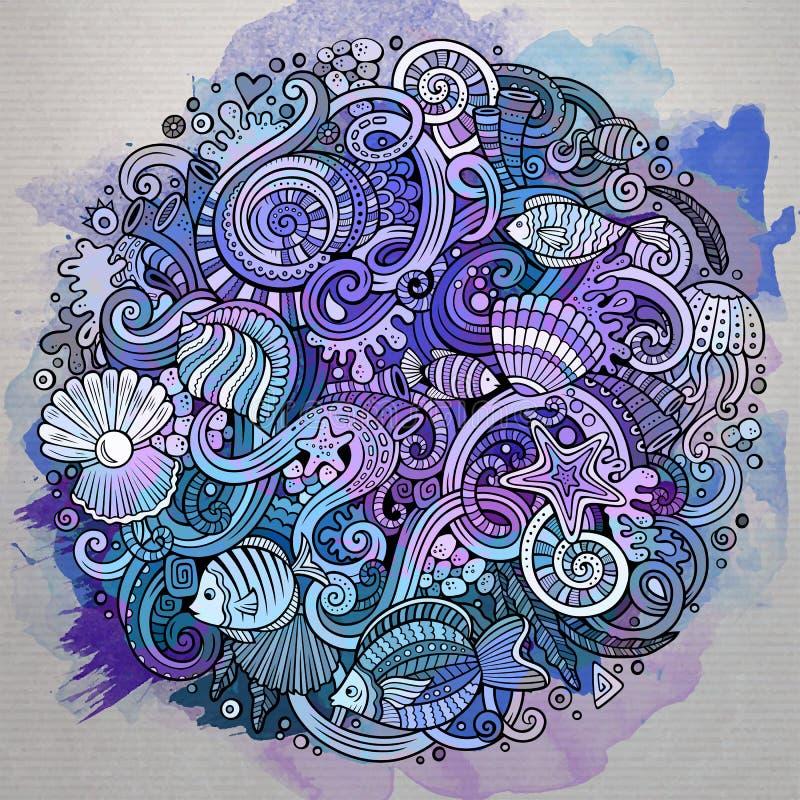 Kreskówek pociągany ręcznie doodles życia Podwodna ilustracja ilustracja wektor