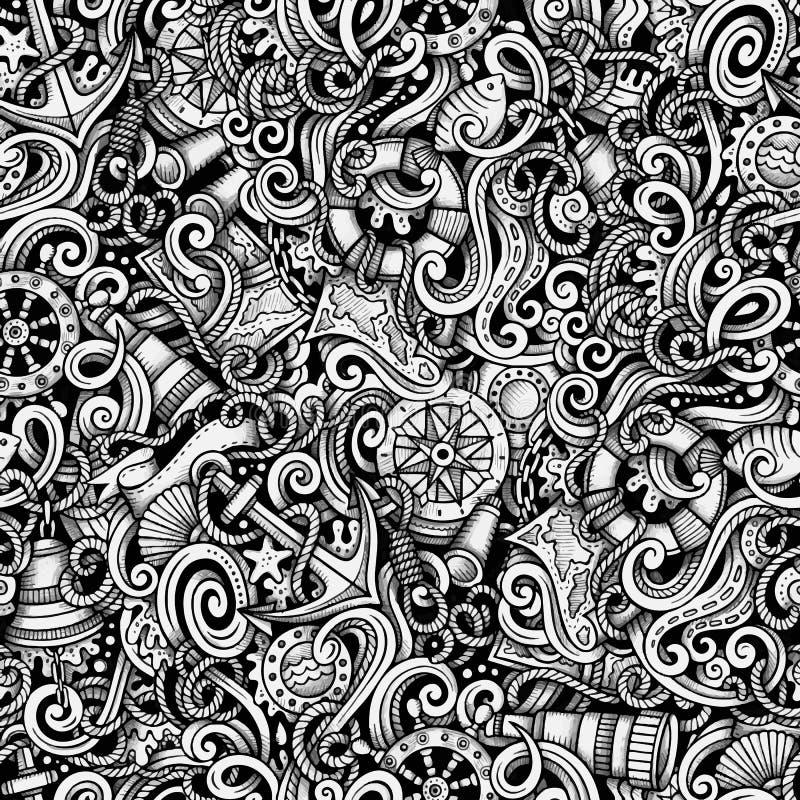 Kreskówek pociągany ręcznie doodles Nautyczni i Morski bezszwowy wzór royalty ilustracja