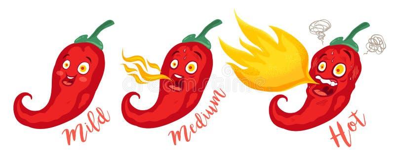 Kreskówek różni czerwoni chillies royalty ilustracja