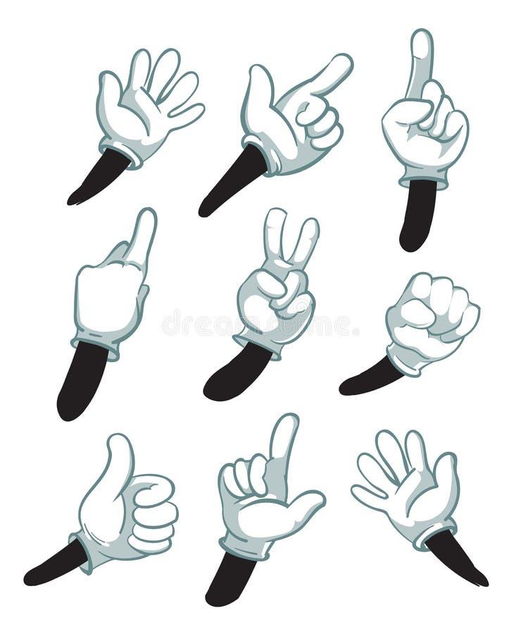 Kreskówek ręki, gloved ręki części ciało wektoru ilustracja ilustracja wektor