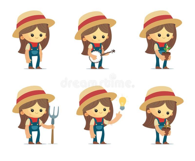 Kreskówek Rolne dziewczyny royalty ilustracja