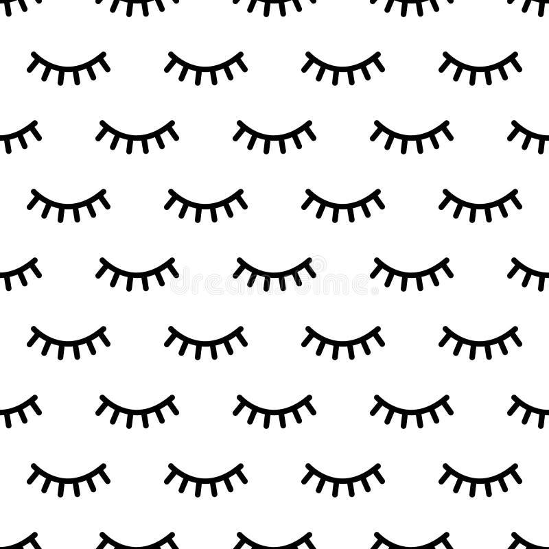 Kreskówek rzęs wzór Doodle żeńskiego makeup tło, prosta minimalistyczna jednorożec zamykający oczy Wektorowy bezszwowy druk royalty ilustracja