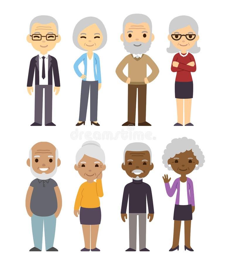 Kreskówek starzy ludzie ustawiający ilustracji