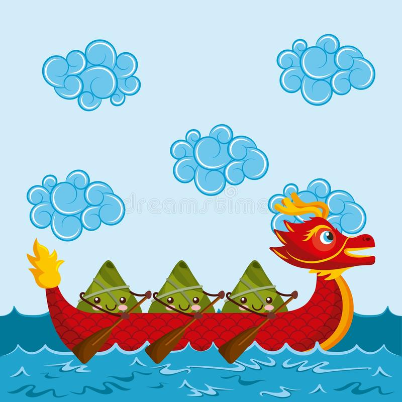 Kreskówek szczęśliwe ryżowe kluchy paddling czerwoną smok łódź royalty ilustracja