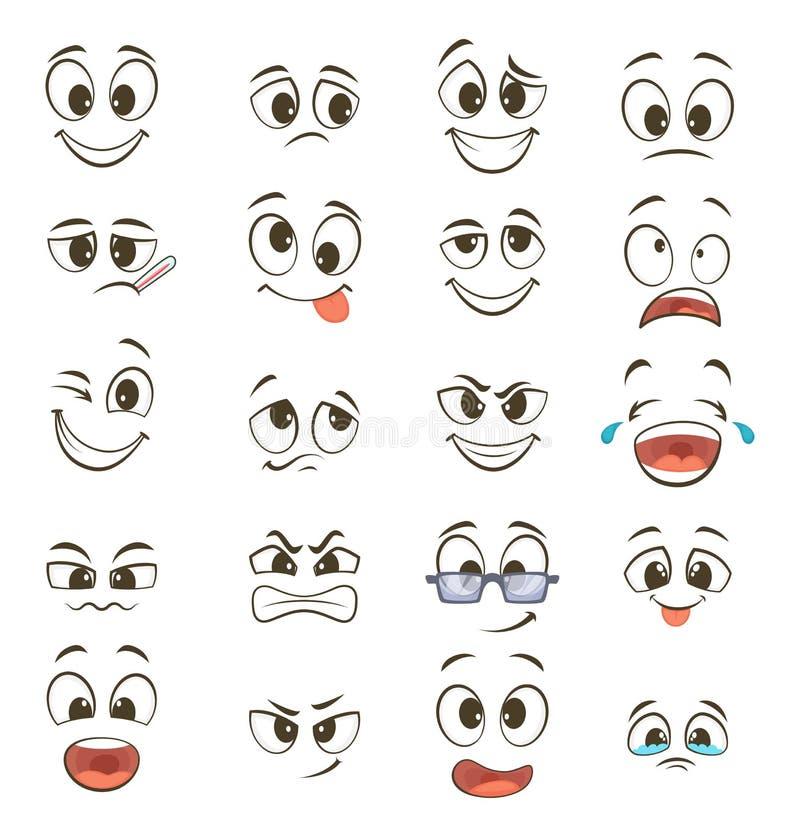 Kreskówek szczęśliwe twarze z różnymi wyrażeniami ściągania ilustracj wizerunek przygotowywający wektor ilustracji
