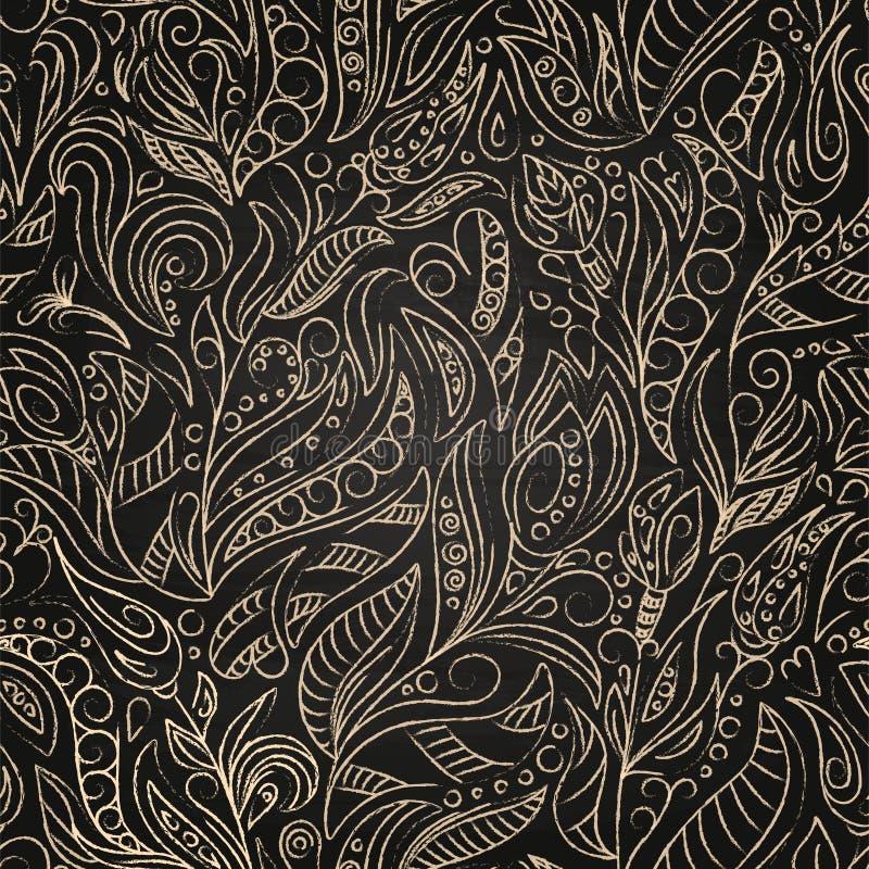 Kreskówek szkicowi doodles wręczają patroszonego kwiecistego chalkboard tło Wektorowy kreskowej sztuki bezszwowy wzór royalty ilustracja