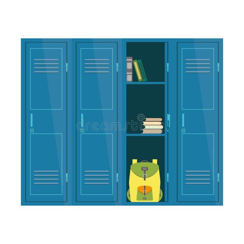 Kreskówek Szkolne szafki, studencki meble odizolowywający na białym backg ilustracja wektor