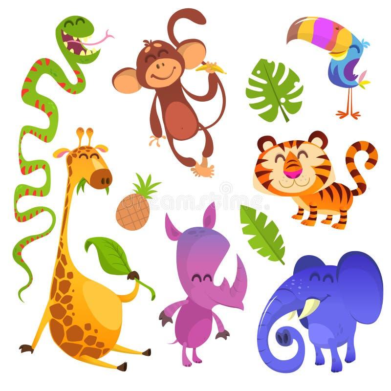 Kreskówek tropikalni zwierzęta ustawiający ilustracji