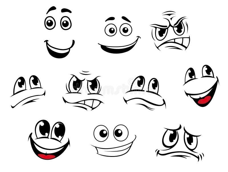Kreskówek twarze ustawiać ilustracji