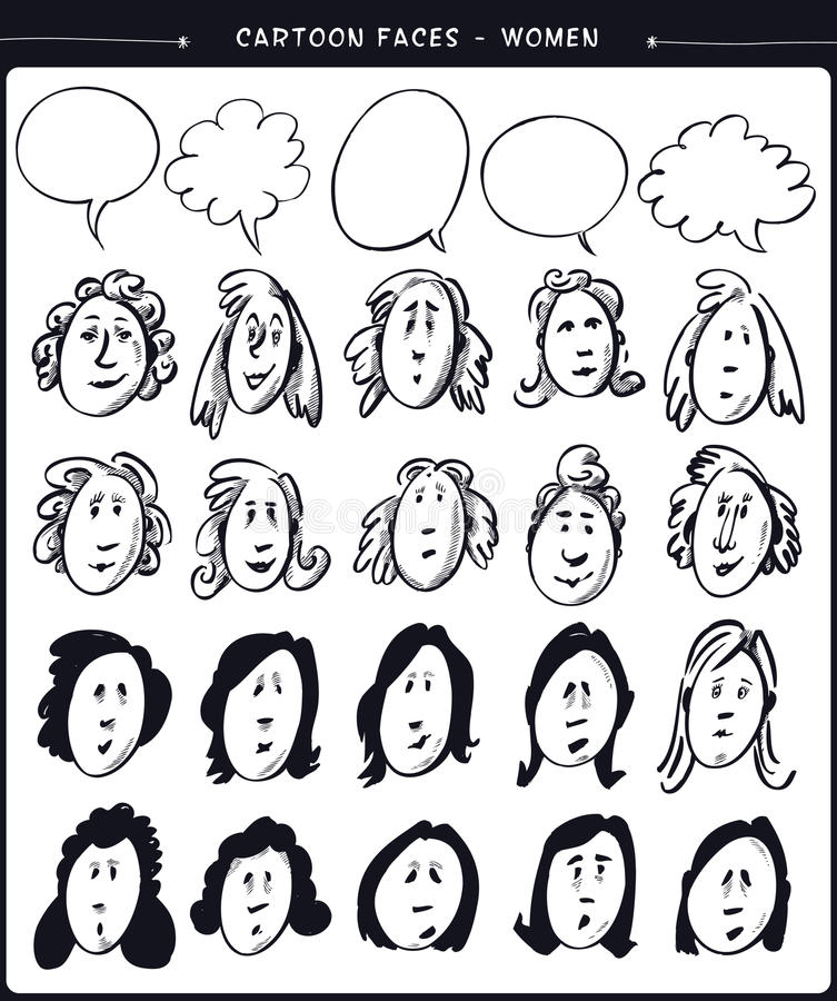 Kreskówek twarzy kobiety ilustracji