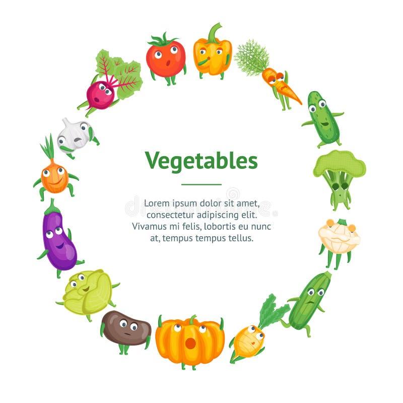 Kreskówek warzyw charakterów sztandaru karty Świeży Zdrowy okrąg wektor ilustracja wektor