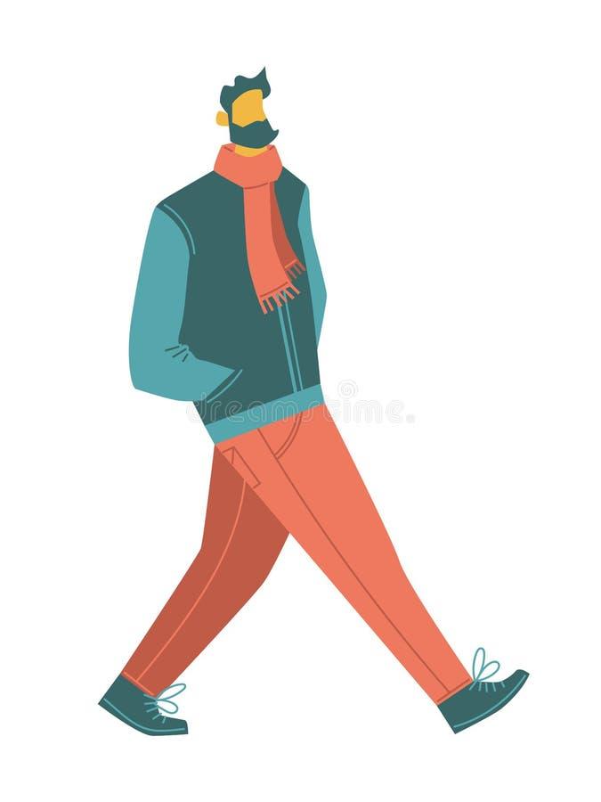 Kreskówek wektorowi ludzie brodaty odprowadzenie mężczyzna jest ubranym przypadkowych ubrania: szalik, kurtka, cajgi, buty odosob royalty ilustracja