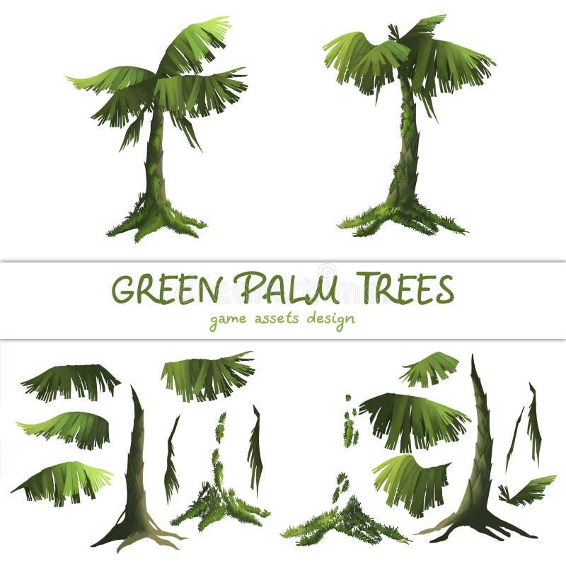 Kreskówek zieleni drzewka palmowe na białym tle ilustracji