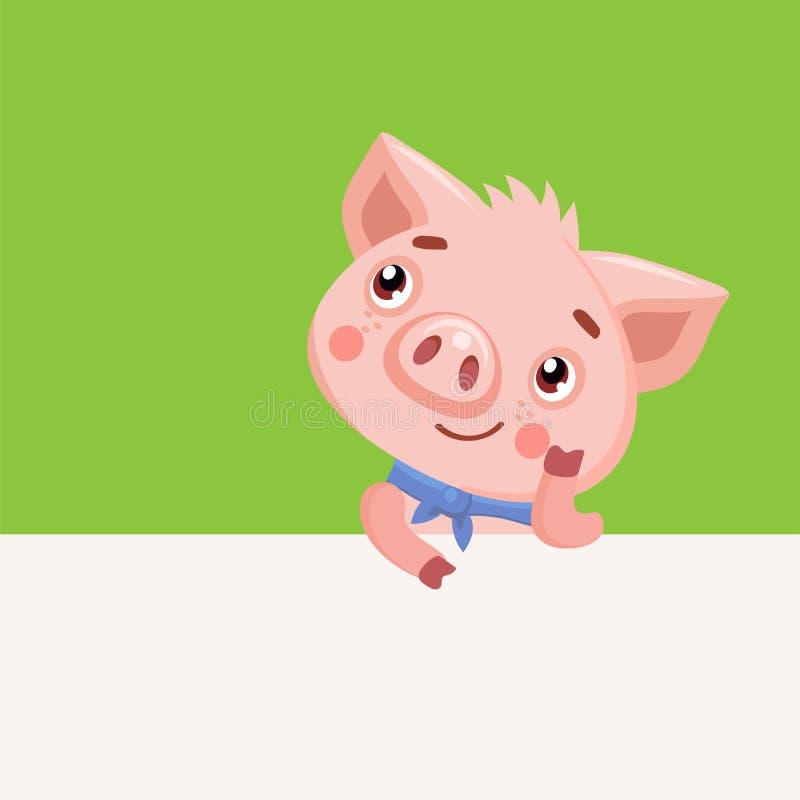 Kreskówek zwierząt charaktery Śmiesznej kreskówki Świniowaty Wektorowy charakter Szczęśliwa świnia Z Signboard royalty ilustracja