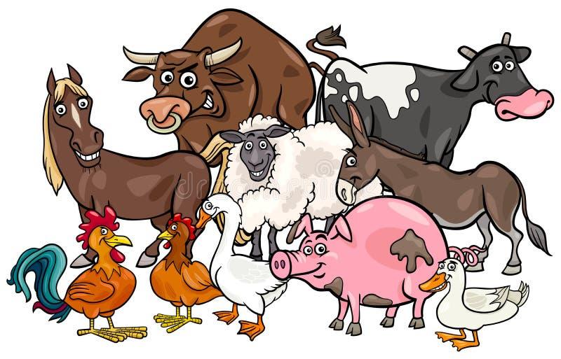 Kreskówek zwierząt gospodarskich grupa ilustracji