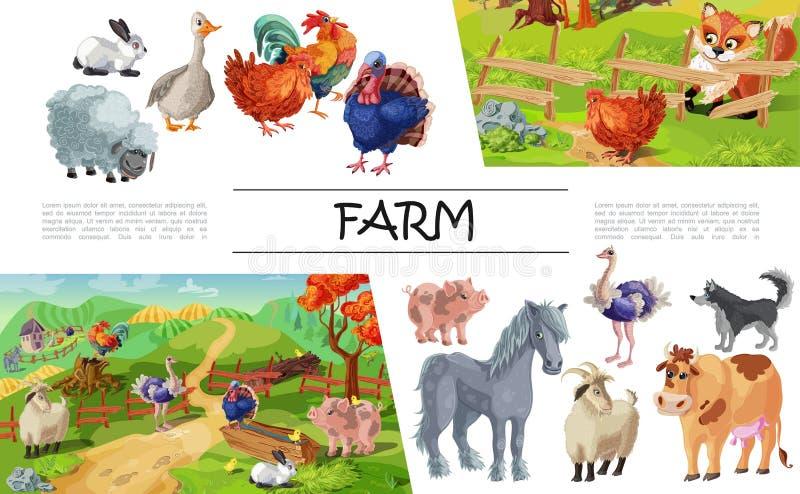 Kreskówek zwierząt gospodarskich pojęcie ilustracja wektor