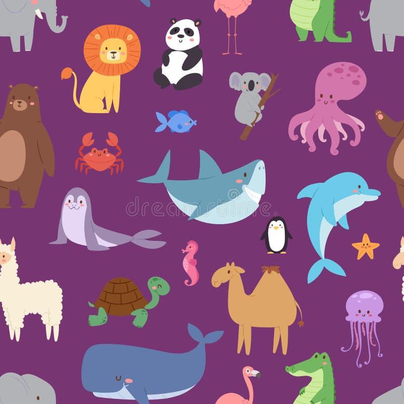Kreskówek zwierząt przyrody tapetowego zoo charakterów dziki tło dla dzieciaka ilustracyjnego wektorowego bezszwowego wzoru royalty ilustracja