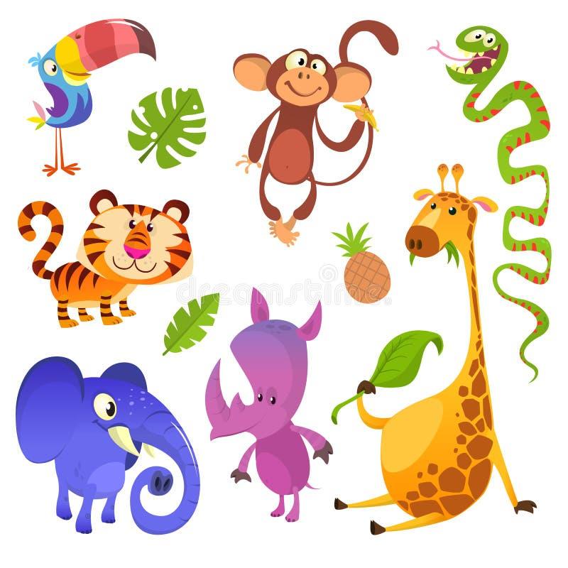 Kreskówek zwierząt tropikalni charaktery ustawiający royalty ilustracja