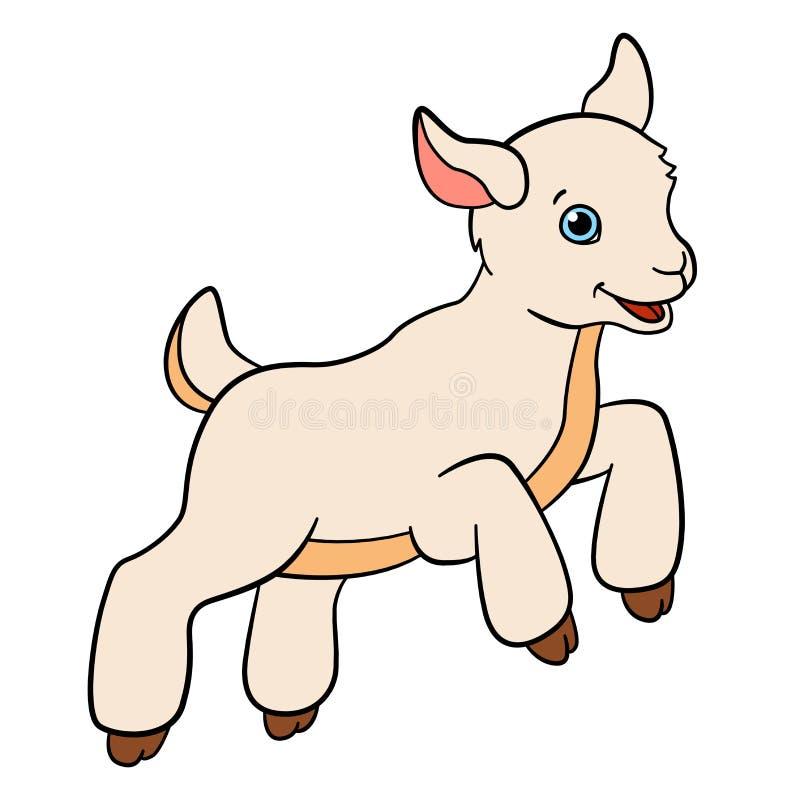 Kreskówek zwierzęta gospodarskie dla dzieciaków Mała śliczna dziecko kózka ilustracji