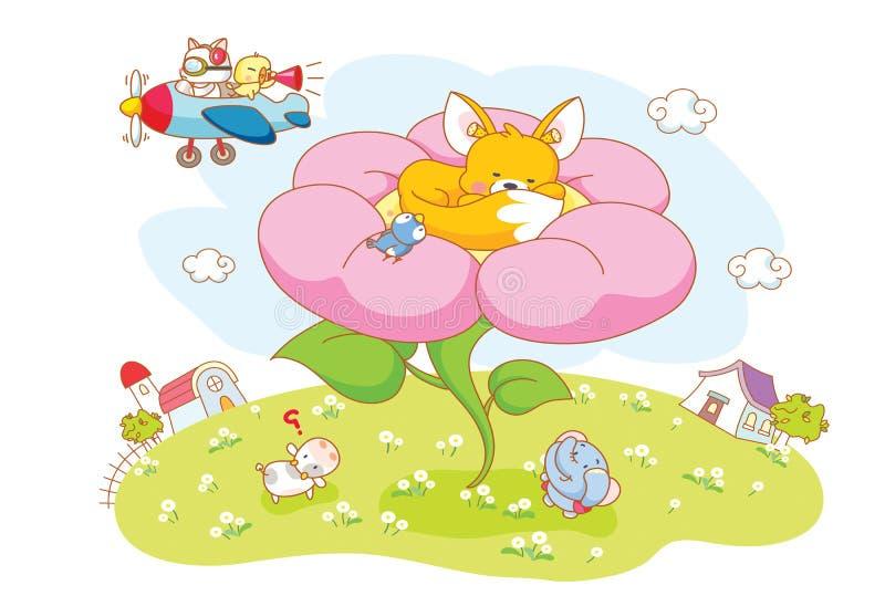Kreskówek zwierzęta w kwiatach ilustracja wektor