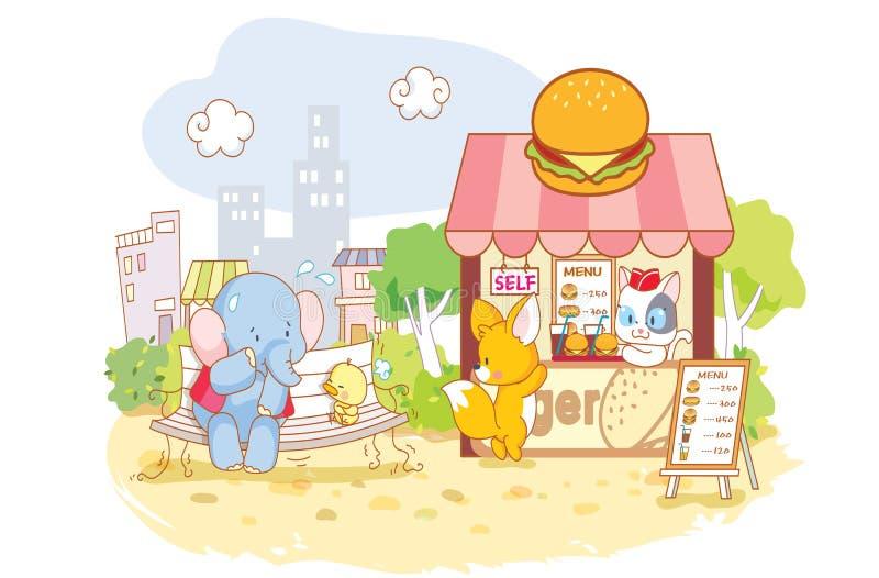 Kreskówek zwierzęta w sklepie ilustracja wektor