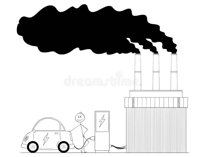 Kreskówka Ładuje Elektrycznego samochód władzą Od Węglowej elektrowni mężczyzna royalty ilustracja