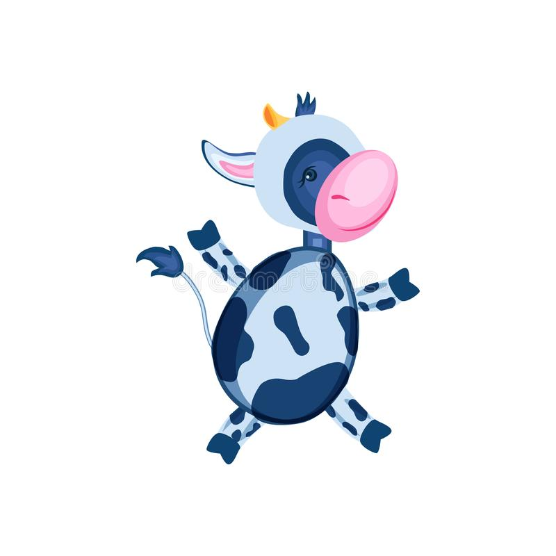 Kreskówka łydkowy wektor żartuje zwierzęcia, domowy śliczny dziki krowa bieg odizolowywający na białym tle, charakteru projekt dl royalty ilustracja