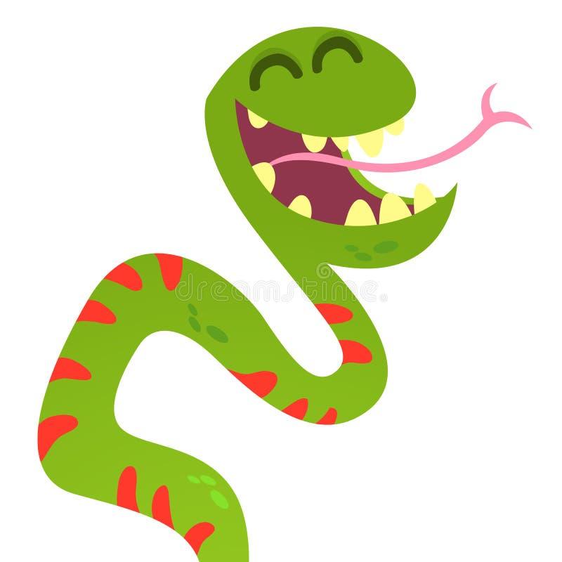 Kreskówka Ślicznego Zielonego Uśmiechniętego węża Wektorowa Zwierzęca ilustracja ilustracja wektor