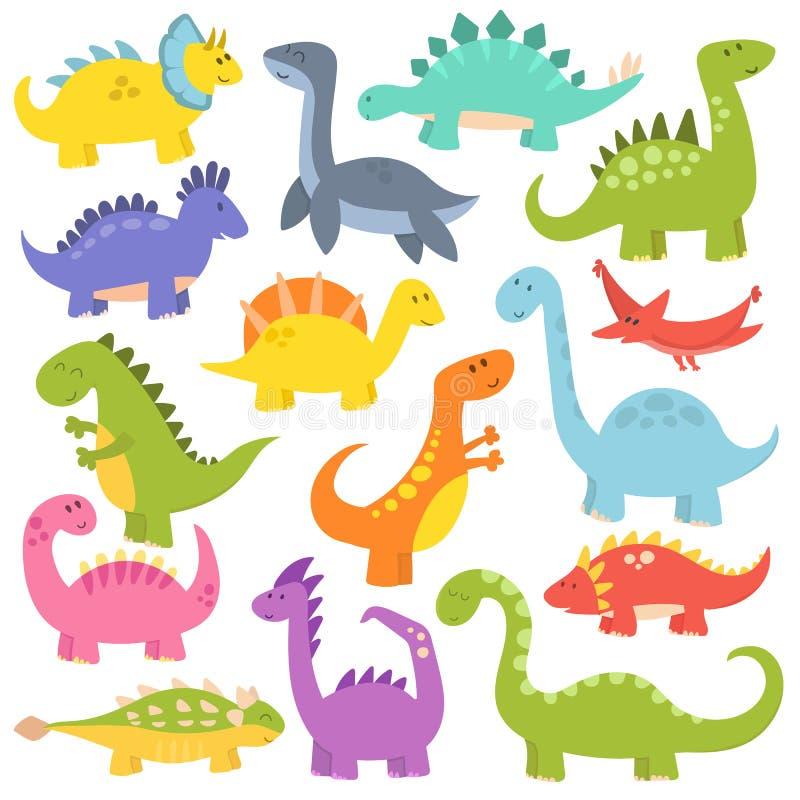 Kreskówka śliczni dinosaury wektorowi royalty ilustracja