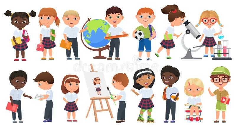 Kreskówka śliczni dzieciaki ustawiający Szkolne chłopiec i dziewczyn dzieci z książkami i szkolnymi dostawami inkasowymi ilustracja wektor